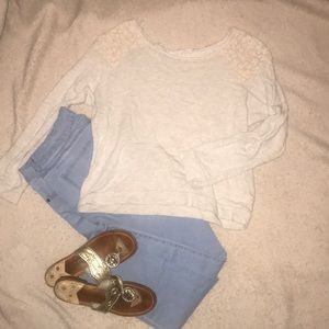 Lace and cotton sweater